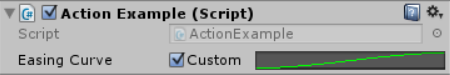 The 'Custom' button is checked. Instead of a dropdown menu, there isa unity AnimationCurve editor.