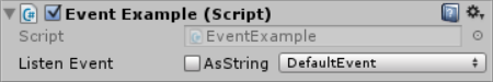 There is an unchecked checkbox titled 'AsString' next to a dropdown menu of all the events.